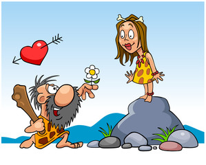ancient bearded man gives a flower to the woman he loves