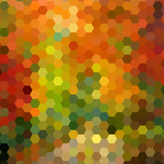 Abstract background in autumn colors shaped honeycombs