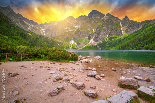 Eye of the Sea lake in Tatra mountains at sunset, Poland - 72095690