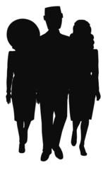 trio   walking in silhouette