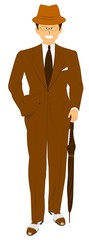 man in brown suit with umbrella