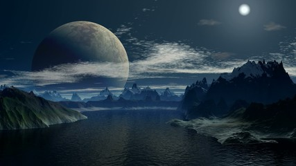 A huge moon in the sky fantastic planet