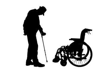 Vector silhouette of disabled man.