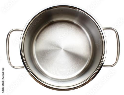 Leinwandbild Motiv leerer Kochtopf von oben