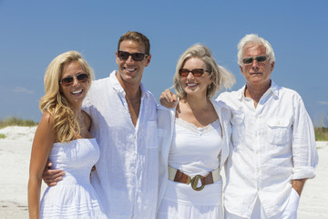 Family Mother Father Son Daughter Couples on Beach