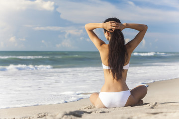 Sexy Woman Girl Sitting White Bikini on Beach