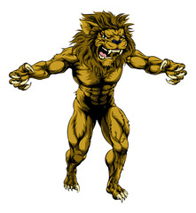 Lion scary sports mascot