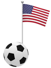 Football with flag of USA