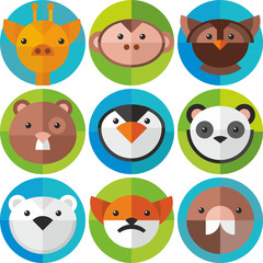 set of round icons animals
