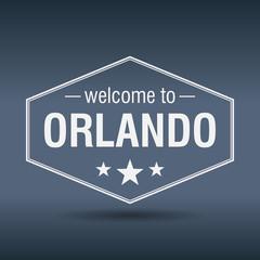 welcome to Orlando hexagonal white vintage label