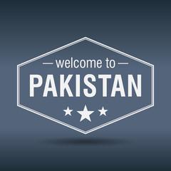 welcome to Pakistan hexagonal white vintage label