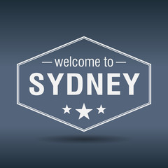 welcome to Sydney hexagonal white vintage label