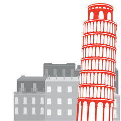 Leaning Tower of Pisa on the background of city, vector illustra