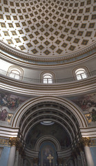Amazing arches in dome in Mosta, Malta