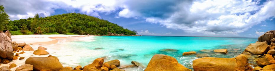 Anse Georgette beach panorama in Praslin Island, Seychelles