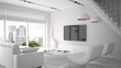 Modern interior in white color 3D rendering