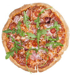 Homemade Ham Pizza (isolated)