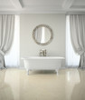 Interior of classic bathroom with curtains round mirror 3D rende