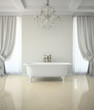 Interior of classic bathroom with chandelier 3D rendering