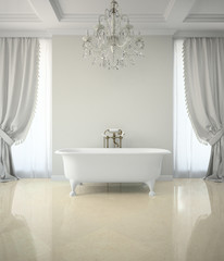 Interior of classic bathroom with chandelier 3D rendering
