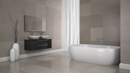 Interior of modern bathroom with granite  tiles  wall