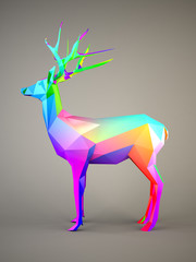 Deer with multicolor pattern on gray background