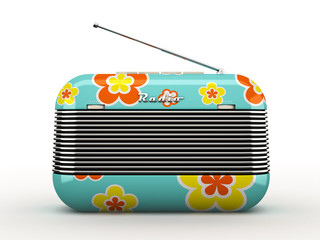 Old flovers pattern vintage retro style radio receiver isolated