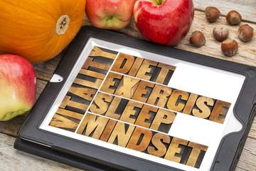 diet, sleep, exercise and mindset - vitality