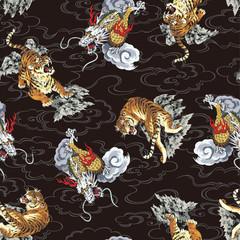 日本画調の龍パターン