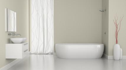 Interior of modern bathroom with the window