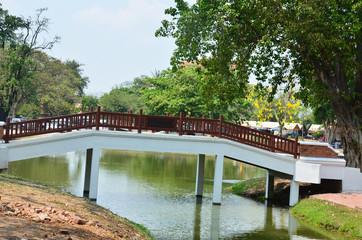 Bridge crossover canal in Ayutthaya Historical Park Thailand