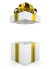 Open white gift box with gold bow isolated on white background 7