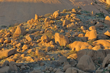 Boulders at Spitzkoppe in Namibia at sunset