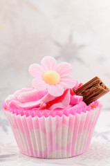 Home made pink strawberry cup cake