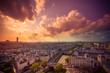 Paris France cityscape at sunset