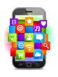 Mobile phone and shiny media symbols.