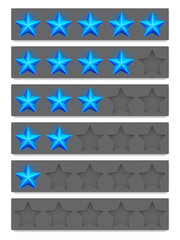 Collection of blue rating stars.