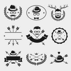 Hipster elements and labels set. Vector