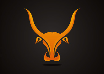 bull head orange vector logo