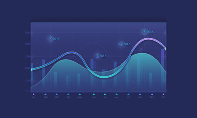 Business financial line graph background