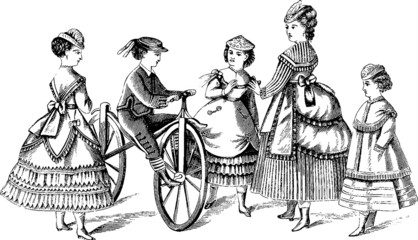 Vintage illustration victorian children fashion