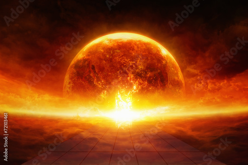 Leinwanddruck Bild Earth in hell