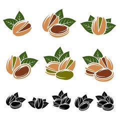 Pistachio nuts set. Vector
