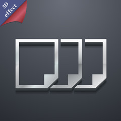 Copy file icon symbol. 3D style. Trendy, modern design with