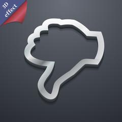 Dislike, Thumb down icon symbol. 3D style. Trendy, modern design