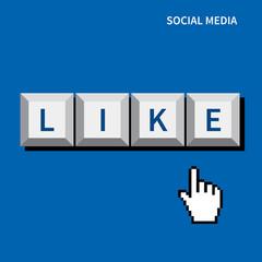 cursor hand click like button.social media concept