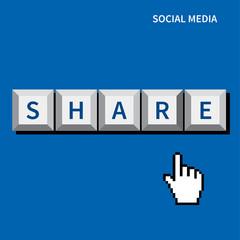 cursor hand click share button.social media concept