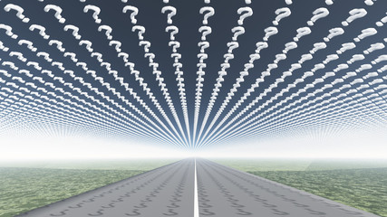 Road and question mark shaped clouds