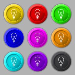 Light lamp sign icon. Idea symbol. Lightis on. Set of colored
