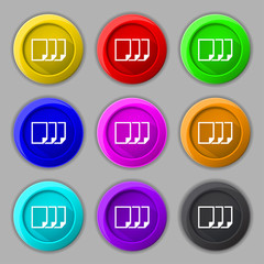 Copy file sign icon. Duplicate document symbol. Set of colored